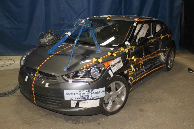 2014 Hyundai Veloster, after NHTSA side-impact crash test