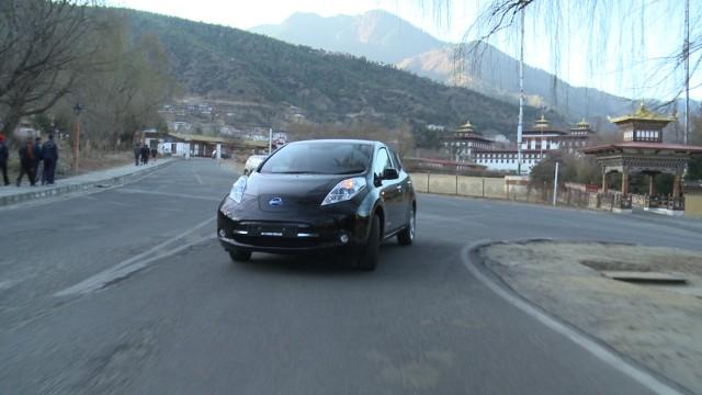 2014 Nissan Leaf electric car on the roads of Thimphu, Bhutan
