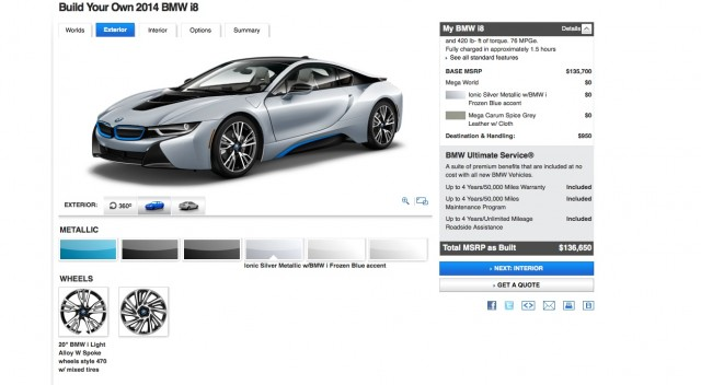 2014 Bmw I8 Configurator Live Spec Your Own Plug In Hybrid Coupe