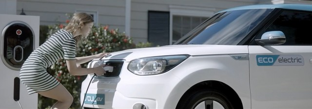 2015 Kia Soul EV electric car recharging in screen capture from 'Recharge Your Soul' video