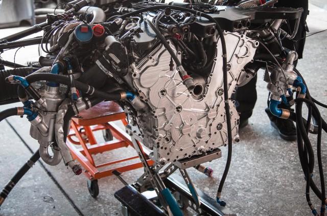 2015 Nissan GT-R LM NISMO LMP1 race car's engine