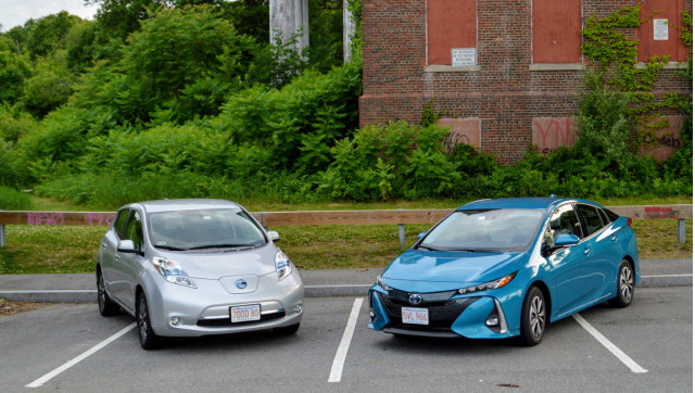 2015 Nissan Leaf and 2017 Toyota Prius Prime belonging to reader John. C. Briggs
