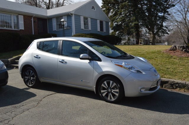 2015 Nissan Leaf outside home  [photo: John C. Briggs]