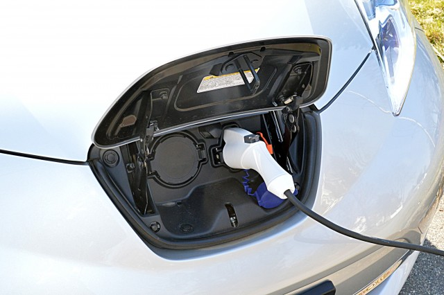 2015 Nissan Leaf plugged in to recharge [photo: John C. Briggs]