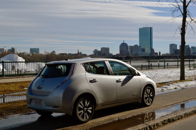 2017 Nissan Leaf In Front Of John Han Tower Boston Photo Briggs