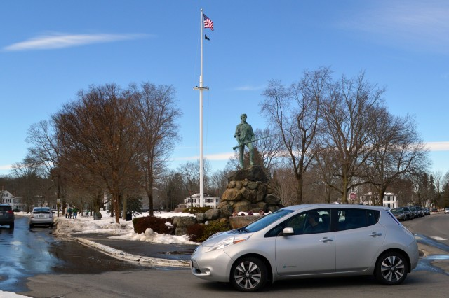 2015 Nissan Leaf at Lexington Minuteman statue, Boston [photo: John Briggs]