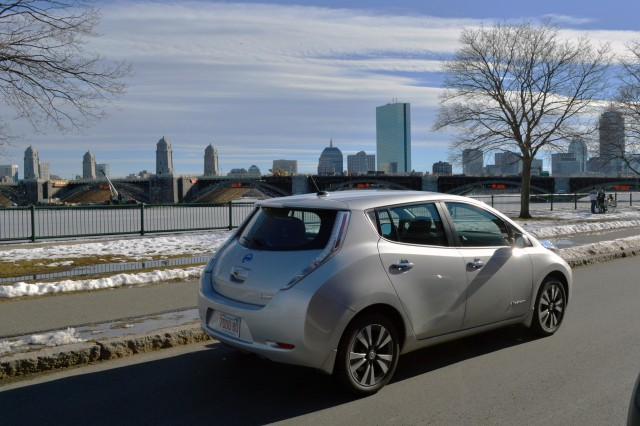 2015 Nissan Leaf in front of Longfellow Bridge, Boston [photo: John Briggs]