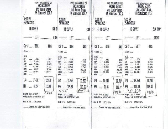 2015 Tesla Model S P85D timing slips from different drag-racing matchups [photo: George Parrott]