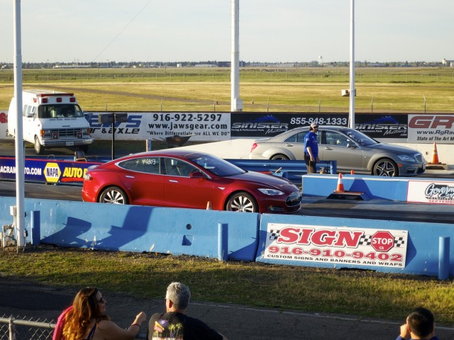 2015 Tesla Model S P85D vs Mercedes-Benz S63 AMG at drag strip [photo: George Parrott]