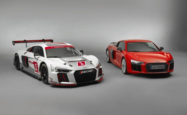 2016 Audi R8 LMS race car and 2017 R8