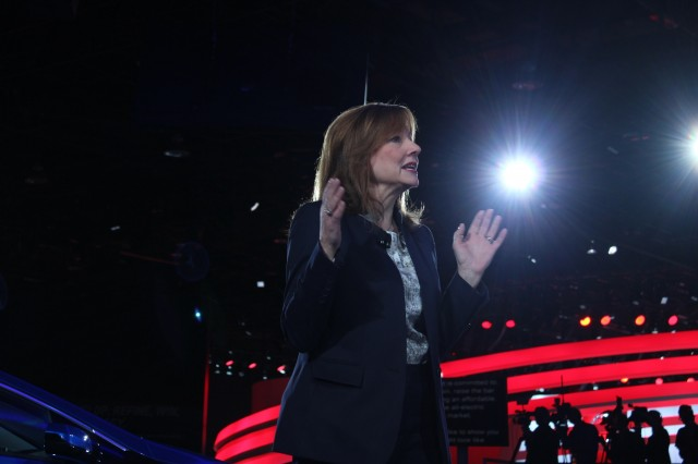 GM CEO Mary Barra with 2016 Chevrolet Volt - Detroit Auto Show