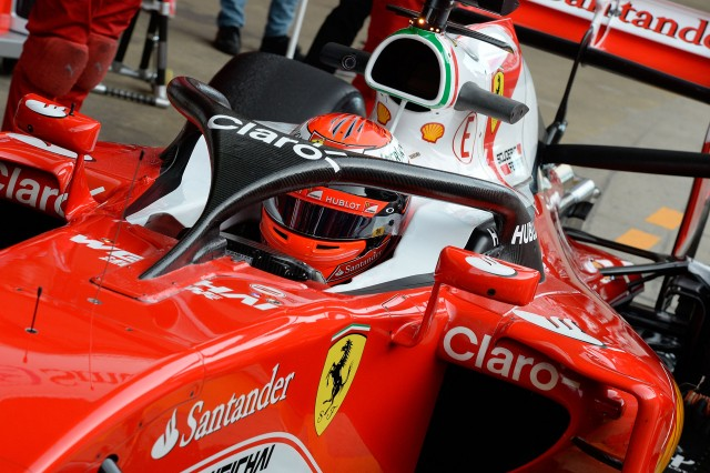 2016 Ferrari Formula One car equipped with Halo cockpit protection & F1 organizers now favor Shield over Halo for cockpit protection