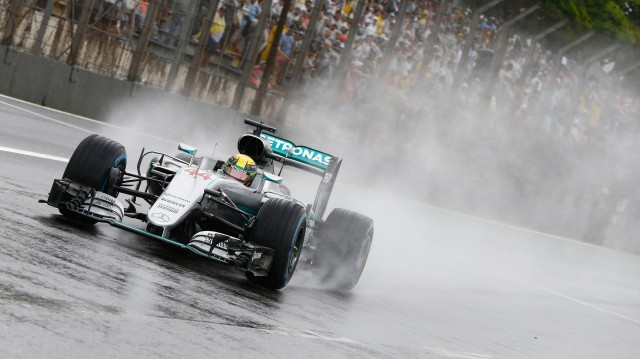 Mercedes AMG's Lewis Hamilton at the 2016 Formula One Brazilian Grand Prix