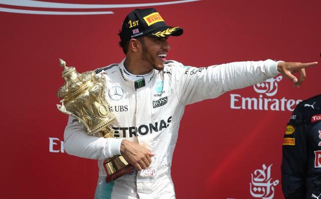 Mercedes AMG's Lewis Hamilton after winning the 2016 Formula One British Grand Prix