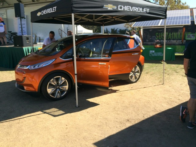 2016 Nissan Leaf and Chevrolet Bolt EV at Drive Electric Week event, Los Angeles [photo: Jeff U'ren]