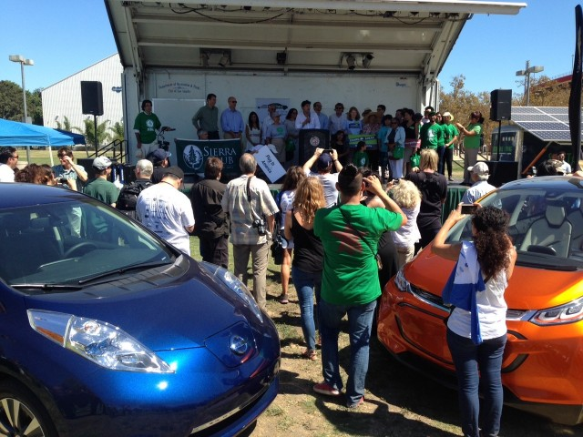 2016 Nissan Leaf and Chevrolet Bolt EV at Drive Electric Week event, Los Angeles [photo: Zan Scott]