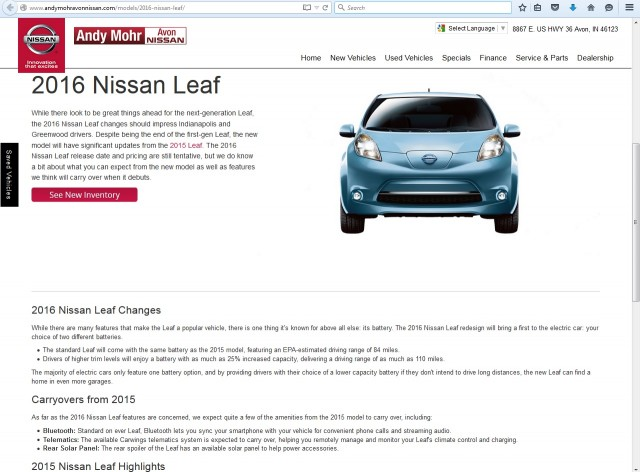 2016 Nissan Leaf description page, Andy Mohr Avon Nissan in Avon, Indiana, Aug 2015
