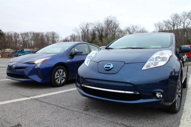 2016 Nissan Leaf SL and 2016 Toyota Prius Three, Hudson Valley, NY, Dec 2015