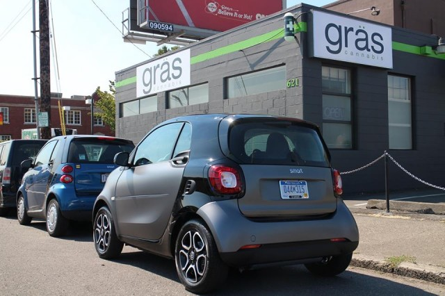 2016 Smart ForTwo minicar, parked behind first-generation model, Portland, Oregon, Aug 2015