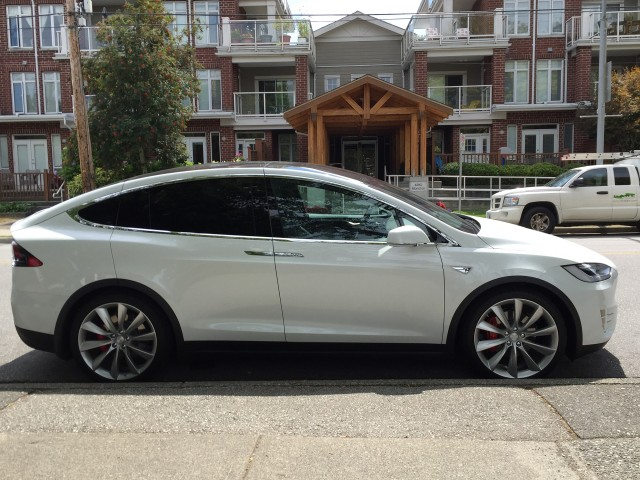2016 Tesla Model X on the street in Vancouver, BC, Canada  [photo: Matthew Klippenstein]