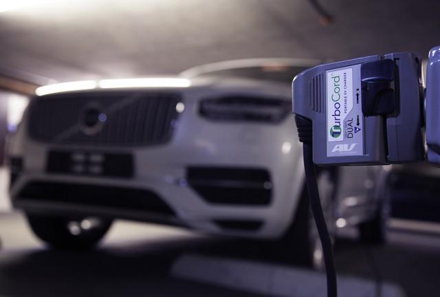 2016 Volvo XC90 T8 with AeroVironment TurboCord Level 2 charging cord
