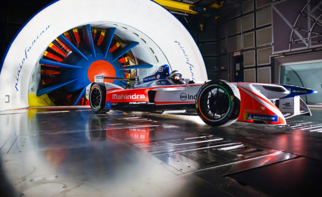 2018/2019 Mahindra Racing M5Electro Formula E race car in Pininfarina's wind tunnel