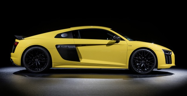 "2017 Audi R8 with matte ""Audi Sport"" logo embedded on side blades"