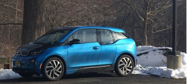 2017 BMW i3 charging in the sun during winter weather [photo: owner Chris Neff]