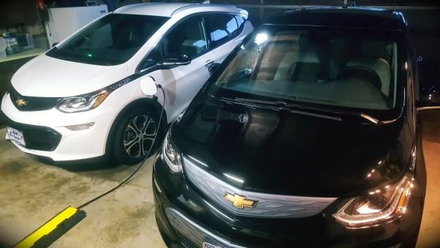2017 Chevrolet Bolt EV electric cars charging in garage [photo: Patrick Reid]