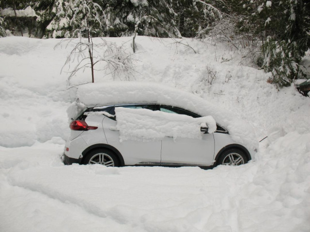 2017 Chevrolet Bolt EV electric car after snowfall, Glacier National Park [photo: D Gadotti]