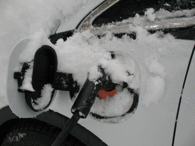 2017 Chevrolet Bolt EV electric car charge port with accumulated snow [photo: D Gadotti]