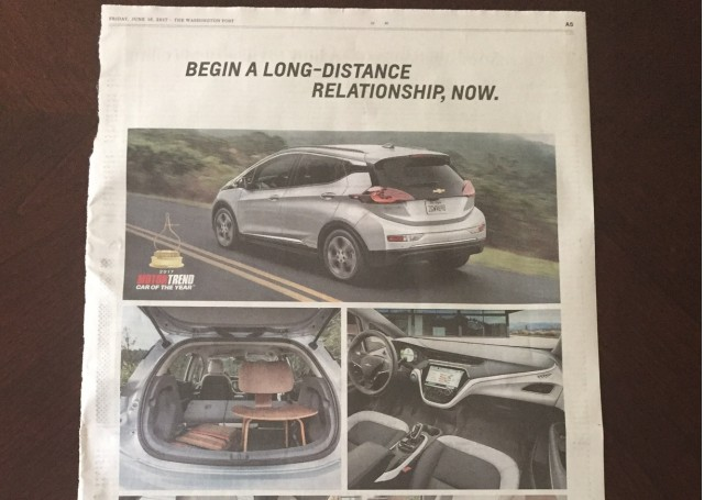 2017 Chevrolet Bolt Ev Newspaper Ad The Washington Post June 16