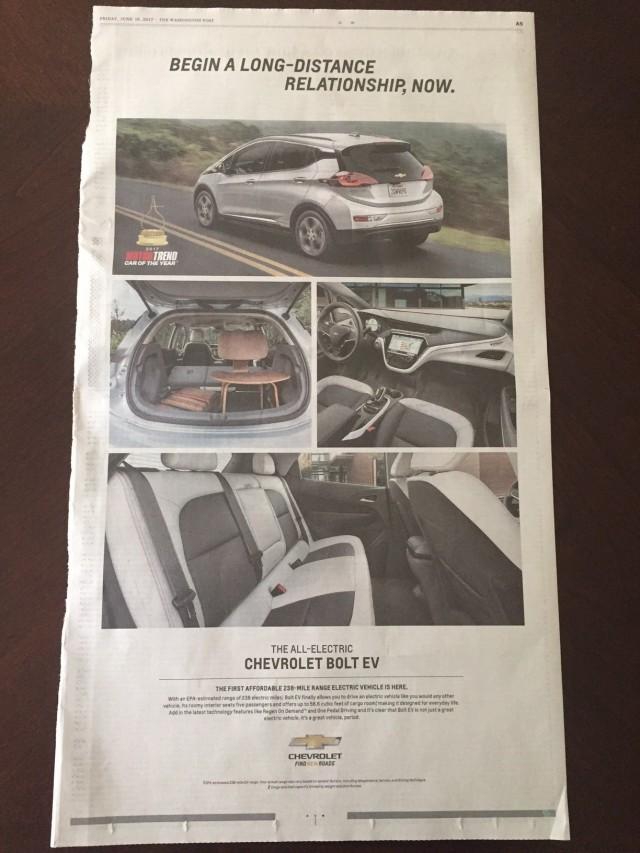 2017 Chevrolet Bolt EV newspaper ad, The Washington Post, June 16, 2017