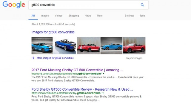 '2017 Ford Mustang Shelby GT500 Convertible' shows up in Google search