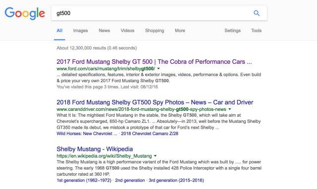 '2017 Ford Mustang Shelby GT500' shows up in Google search