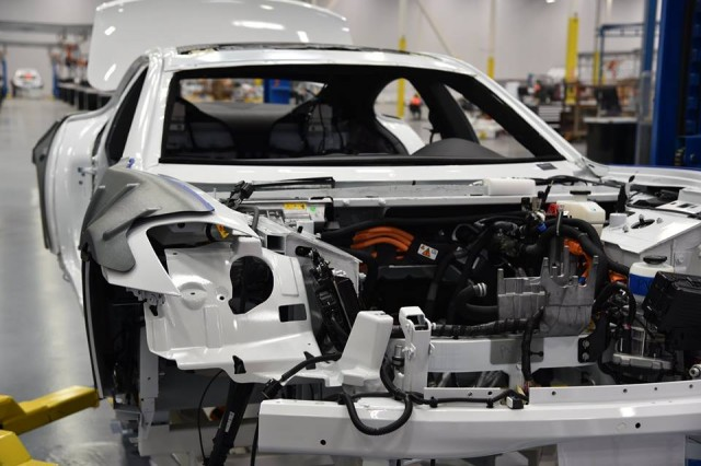 Karma Revero assembly at Karma Automotive factory, Moreno Valley, California, July 2016