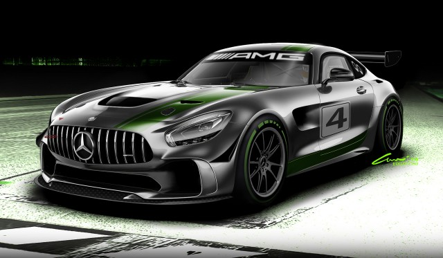 Mercedes-AMG GT4 race car preview sketch