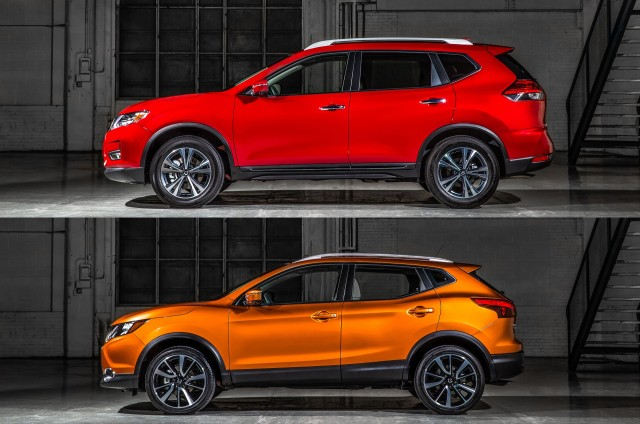 2017 Nissan Rogue (top) vs 2017 Nissan Rogue Sport (bottom)