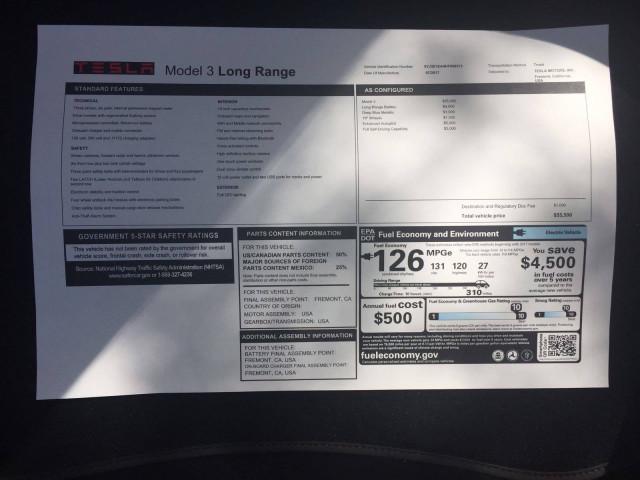 2017 Tesla Model 3 Long Range window sticker [photo: PaulRocket on Tesla Motors Club]