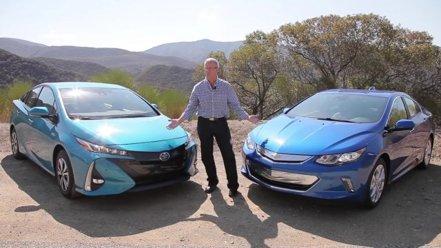 2017 Toyota Prius Prime And Chevrolet Volt With Green Car Reports Editor John Voelcker