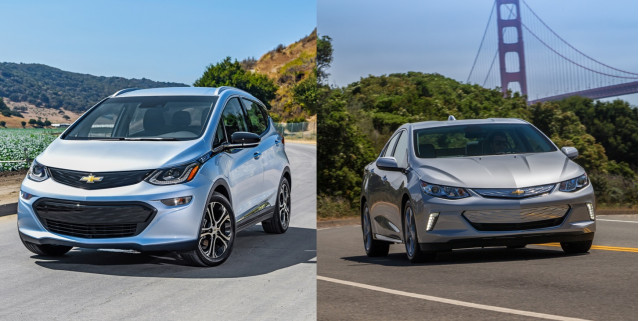 Chevrolet Bolt EV electric car and Chevrolet Volt plug-in hybrid
