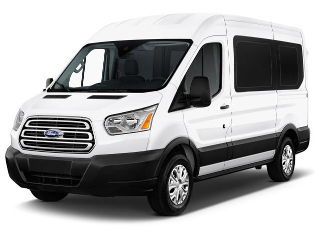 "2018 Ford Transit Passenger Wagon T-150 130"" Med Roof XLT Sliding RH Dr Angular Front Exterior View"