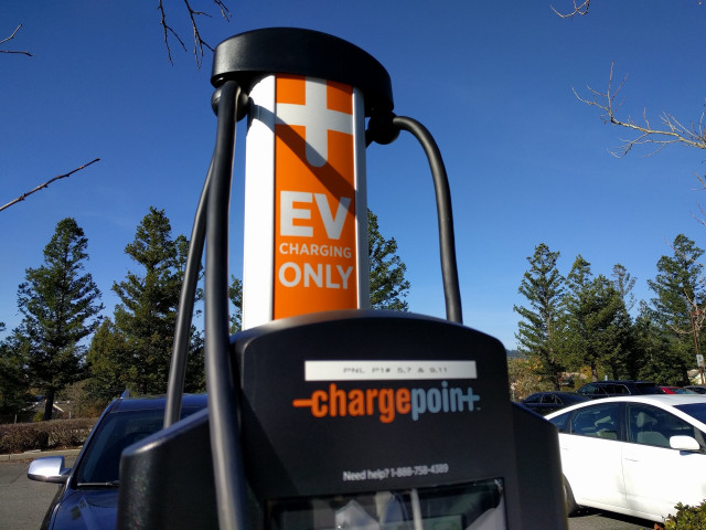 2018 Kia Niro Plug-In Hybrid charging at ChargePoint station, Santa Cruz, California, Dec 2017