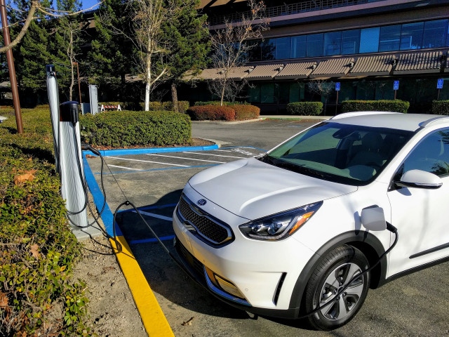2018 Kia Niro Plug In Hybrid Charging At Office Park Santa Cruz California