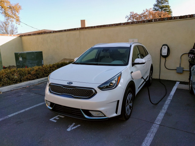 2018 Kia Niro Plug-In Hybrid charging at Paso Robles Inn, Paso Robles, California, Dec 2017