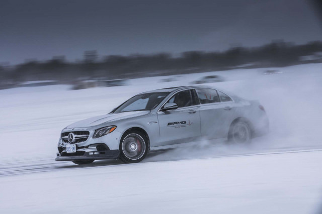 Mercedes amg 39 s winter driving academy highlights for Mercedes benz winter event commercial