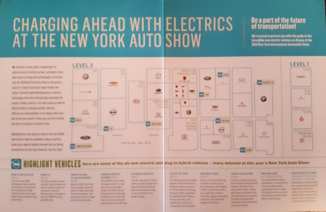2018 New York Auto Show Plug-in Electric Car Floor Map