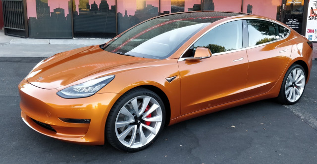 George Parrott's 2018 Tesla Model 3 with orange wrap [CREDIT: George Parrott]