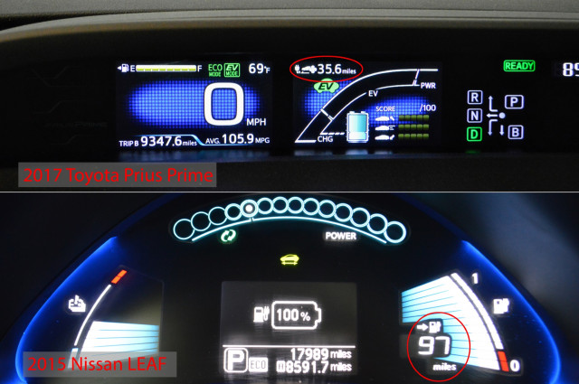 2018 Toyota Prius Prime and 2015 Nissan Leaf dashboards [CREDIT: JOHN C. BRIGGS]