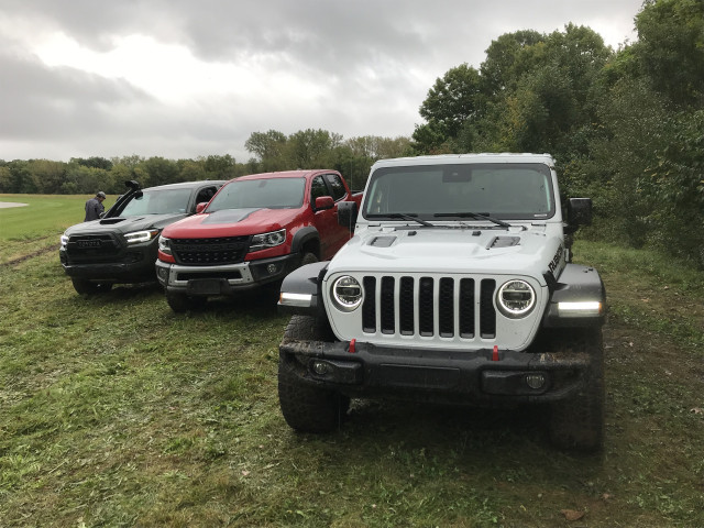 2019 Chevy Colorado ZR2 Bison, 2020 Jeep Gladiator, 2020 Toyota Tacoma TRD Pro, from left